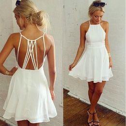 Wholesale Lace Skater Dresses - Hot white Cross Lace Up Backless Spaghetti Strap Short Skater Dress Women A Line Sleeveless Mini Dress