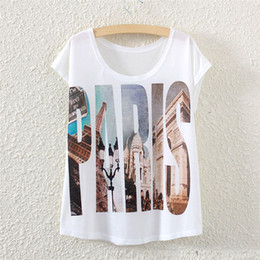 Wholesale Eiffel Tower Clothing - Wholesale-2016 Fashion Summer Ladies T Shirt Women Paris Letter Eiffel Tower Printed O-Neck Loose Tees Tshirt Casual T-Shirt Women Clothes