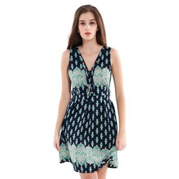 Wholesale Cute Girl Hot Sexy - Sexy Summer Dress Eye Lacing Cotton Printting Colored Deep V-Neck Sleeveless Shrink Waist Cute Style Dresses Girls Hot Style Dresses