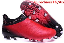 Wholesale Mens Waterproof Boots 39 - 2017 arrived mens fashion waterproof accelerator red alert 16+ Purechaos FG AG gold Soccer shoes Laceless Cleats Cheap Football boots 39-46