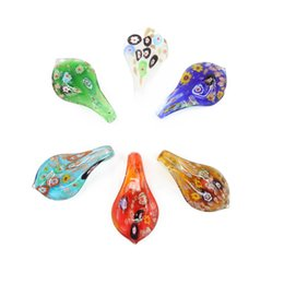 Wholesale Teardrop China - 12pcs box Glass Lampwork Art Pendants Make By Hand Millefiori Teardrop Necklace Pendants New Design, MC0028