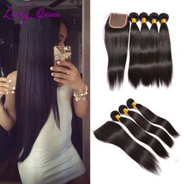 Wholesale Malaysian Straight Bundles - Malaysian Straight Hair With Lace Closure Buy Queens human hair extension Grade 8A Bundles With Closure