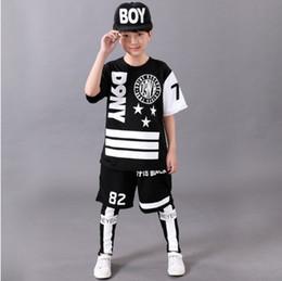 Wholesale Girls Hip Hop Dancewear - 2017 Children's Sports Suit Boy Casual Tracksuit Kids Hip Hop Dancewear Boys Spring Clothes Cool Fashion Black White
