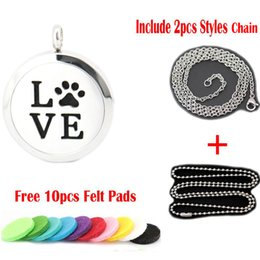 Wholesale Dog Steel Chain - 30mm magnet dog pet love paw Aromatherapy Essential Oil surgical Stainless Steel Perfume Diffuser Locket Necklace with chain and felt pads