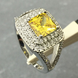 Wholesale 18k Wedding Yellow Diamond Ring - 18KT White Gold Plated Rings for Women Wedding Ring Engagement Women Rings Yellow CZ Diamond Jewelry Fashion Vintage Ring