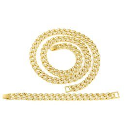 Men Hip Hop Cuban Necklace Jewelry Set Gold Plated Iced Out Bling Rhinestone Crystal Miami Cuban Chain Necklace Bracelet Set Coupon