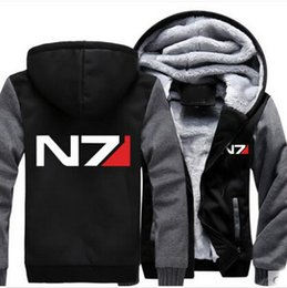Wholesale Mass Effect Hoodie - Wholesale- Mass Effect N7 Hoodie Winter Jacket Coat Super Warm Thicken Men Sweatshirts Cotton Fleece S-3XL