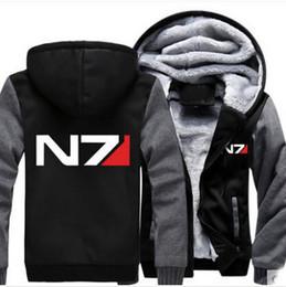 Масса эффект куртка n7 онлайн-Оптово-Mass Effect N7 Толстовка с капюшоном Зимняя куртка Пальто Супер теплые сгущает Мужчины Толстовки Хлопок Руно S-3XL