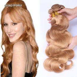 Wholesale Blonde Brown Body Wavy Extensions - Honey Blonde Brazilian Hair 3 Bundles Lot Pure Color #27 Brazilian Body Wave Wavy Light Brown Virgin Human Hair Weft Extensions