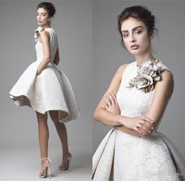 Wholesale Sexy Mini Wrap Dress - Cheap Krikor Jabotian Evening Dresses Jewel Neck Flower Sleeveless 2017 Lace Prom Gowns A Line Short Mini Party Homecoming Dress
