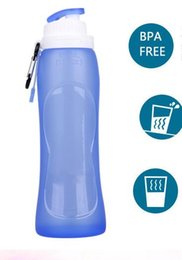 Wholesale foldable water bottles wholesale - Hot Food Grade 500ML Creative Collapsible Foldable Silicone drink Sport Water Bottle Camping Travel my plastic bicycle bottle