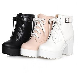 Wholesale Womens Mid Calf Buckle Boots - Womens Punk Chunky Heel Platform lace Up Buckle Strap Ankle Boot Shoes Plus Size