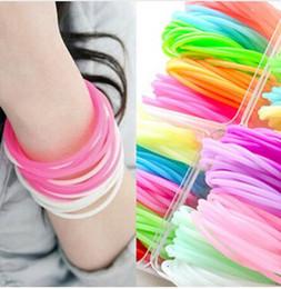Wholesale Neon Kids - DHL free wholesale kid girl Neon Fluorescent Luminous Bracelets Wristband Rubber Gummy Hairband Unisex bangles Glow Bracelets MB01