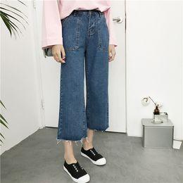Wholesale Straight Leg Harem Pants - 2017 Summer Blue Boyfriend Jeans for women Womens tapered Ladies High Waisted Jeans Casual Loose High Rise Denim Harem straight leg Pants