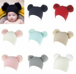 Wholesale Toddler Crochet Hat Cute Free - Baby Knitted Wool Hat Caps with 2 fur pom for Girls Toddler Crochet Beanies Fox Fur Ball Cute Baby Boys Hats Family Cap Gorros Para Bebe