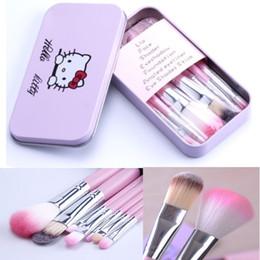 Wholesale Hello Cases - Hello Kitty Brushes Kit Makeup Brushes Pink Iron Case Toiletry Beauty Appliances 7pcs Hello kitty Brushes set