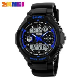 Wholesale Skmei Watches - Fashion Skmei Sports Brand Watch Men's Shock Resistant Quartz Wristwatches Digital And Analog Military LED Casual Watches