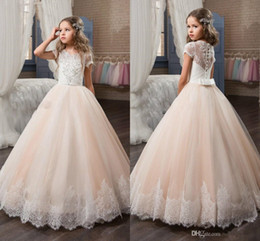 Wholesale Beaded Pink Girls Dress - 2017 Custom Princess Short Sleeve Holy Lace White Bodice Communion Dress Little Girls Beaded Tulle Party Dress Kids Wedding Flower