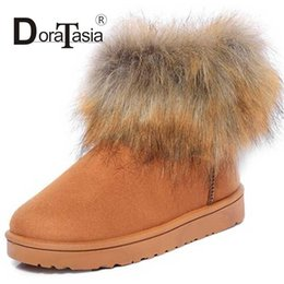 Wholesale Sexy Fur Boots For Women - Wholesale- DoraTasia 3 Colors Sexy Solid Short Winter Boots For Women Flat Heel Rubber Sole Shoes Round Toe Slip On Warm Fur Ladies Boot