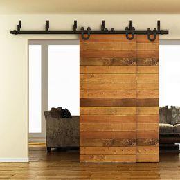 Wholesale Closet Door Styles - 5-16FT Horseshoe Style Bypass Sliding Barn Wood Door Track Hardware Interior Closet Door Kitchen Door Easy Mount Bracket