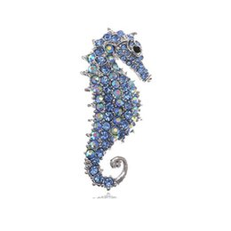 Wholesale Crystal Seahorse Brooch - Cute Silver Plated Seahorse Brooch Pin Jewelry for Women ( Clear& Blue color )