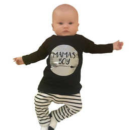 Wholesale Wholesale Toddlers T Shirts - 2017 Boys Baby Clothing Sets Letters Long Sleeve T-shirts Striped Pants ins Spring Autumn Toddler Apparel Boutique Infant Clothes Outfits