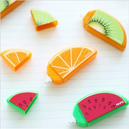Wholesale Deco Fruits - Wholesale- 2 Set Lot Mini Fruit deco correction tape Mini correcting tapes correttore nastro stationery Office accessories School supplies