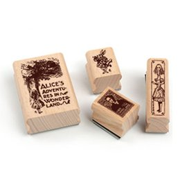 Sellos verdes online-Wholesale-4pcs / lot Alicia en el país de las maravillas caja de hierro de la vendimia Conjunto para la decoración del sello de goma sello de caracteres