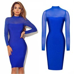 Wholesale Spandex Bodycon Dress Wholesale - Fashion Summer Women High Quality Long Sleeve Perspective Sexy Nightclub Pencil Dress Turtleneck Slim Solid Color Party Dresses