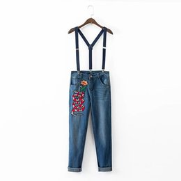 Wholesale Womens Jeans New Arrival - Wholesale- New Arrival Womens Fashion Designer Snake and Flower Embroidery Jeans Pants With Strap Ankle length size S-XL m504