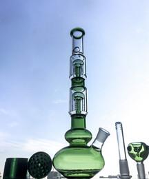 Bong de cristal 42cm online-Bongs de cristal de la venta caliente con el soporte del percolador del árbol del brazo de la capa doble cuatro 42cm bongs de agua del haz común del hielo de la junta GB1218