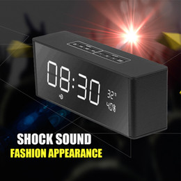 Wholesale Free Office Music - LP-06 Bluetooth 4.2 Speaker Clock TF FM Radio Multifunctional Wireless Speaker Home Office Music Display DHL free shipping MIS151
