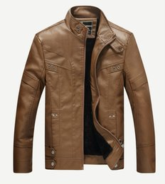 Wholesale Wool Lined Leather Jacket - Men Fashion Leather Jacket Winter Coats Motorcycle Jackets Faux PU Leather Overcoat Fur Lining Warm Outwear Tops Brand Clothing 8858