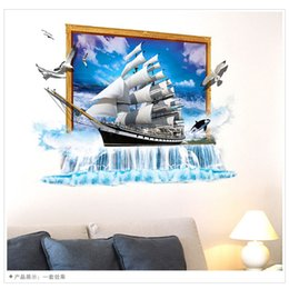 Wholesale Window View Wall Mural - Sailing Boat 3D Creative Window View Seascape Decal Removable Wall Sticker Home Decor Mural Art Wallpaper