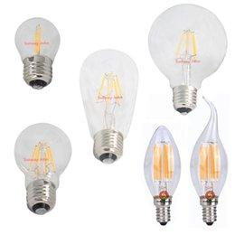 Wholesale 6w E27 Cob - Dimmable Led Filament lights e12 e14 e27 b22 candle bulb 2W 4W 6W 8W globe light bulbs G45 A60 ST64 G95 led lamp