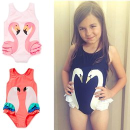 Wholesale One Piece Swimming Suit Girls - Girls Swimsuit Cartoon Kids Swimwear with Swimming Cap Parrot Swan Flamingo Baby Girl Bathing Suit One Piece Swim Wear Wholesale 2506101