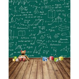Wholesale Digital Background Floors - 5x7ft Vinyl Digital Mathematics Fomula Chalkboard Blackboard Wood Floor Photography Studio Backdrop Background
