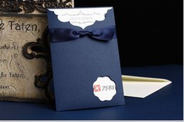 Wholesale Invitation Stamps - Wholesale- 1pcs Blue  red color bow wedding invitation cards stamping invitation cards Wedding Supplies& favors