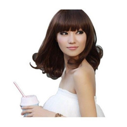 Wholesale Ladys Sexy - 100% New High Quality Fashion Picture full lace wigs Sexy Ladys Mid-Long Fashion Curly Brown Black Wigs Party Wave Cosplay Hair Wig