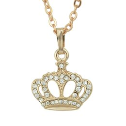 Wholesale Rose Pendent - Rhinestone Alloy Pendent Necklace New Fashioner Jewelry for Women Bisuteria Joyeria Bijoux Rose Gold Color Alloy Necklaces