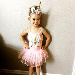 Wholesale Tutu Free Shipping - hot sale ins infant girls unicorn pink tutu dress baby newborn vest princess dresses free ship