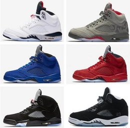 Wholesale Bel Sports - Mens white cement red blue suede women men camo basketball shoes Oreo bel air metallic black white grape 5s sport shoes sneakers
