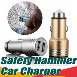 Wholesale Wholesale Cellphone Chargers - Dual 2-Port Usb Car Charger Safety Hammer Charger Adapter Aluminum Alloy Universal For Samsung S7 S8 Plus Cellphones