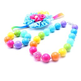Wholesale Christmas Headbands For Kids - Multi-Colo Design Necklace&Bracelet Headband 3PCS Set Birthday Party Gift For Toddlers Girls Bubblegum Baby Kids Chunky Necklace Jewelry Set