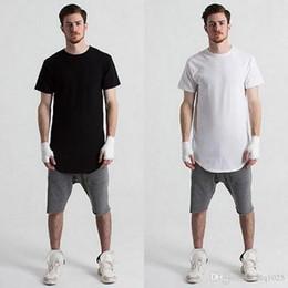 Wholesale Mens Plain Black T Shirt - Wholesale Mens big and tall Clothing designer citi trends Clothes T shirt homme Curved hem Tee plain white Extended T shirt