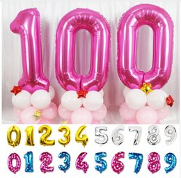 Wholesale White Aluminum Foil - 1pcs 40 inch pink and blue Numbers digital Balloons Aluminum Foil Helium Balloon Birthday Wedding Party Decor Celebration globos