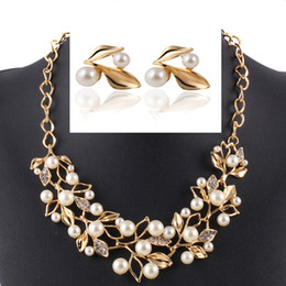 Wholesale Wholesale Jewelry Supply China - Boutique supply branch jewelry set pearl crystal leaf jewelry suit sweater Necklace