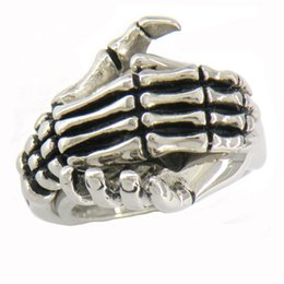 Wholesale Ghosts Band - STAINLESS STEEL mens or womens PUNK VINTAGE JEWELRY jewelry GHOST SKULL hand hold hand ring GIFT 07W14