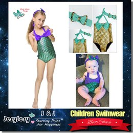 Wholesale Girls Fashion Bikini - Summer Fashion Children Mermaid Swimwear Costume Kids Bowtie Swimsuit Lovely Girl Swim Suit Beach Children Bathing Wear Toddler Bikini