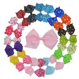 "Wholesale Korea Kids Hair Accessories - Wholesale- 20pcs 4.5"" Baby Girl Big Dot  Floral Ribbon Pinwheel Hair Bows with Clip for Girls Kids Hair Clips Korea Hair Accessories XC1880"